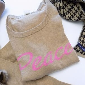 "GAP ""Peace"" Tan & Pink Wool Sweater"